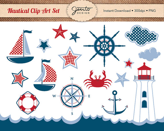 Lighthouse clipart red and blue Clip Red Nautical  Art