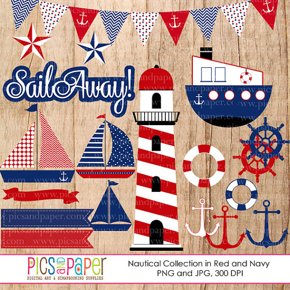 Lighthouse clipart red and blue Lighthouse digital navy in theme