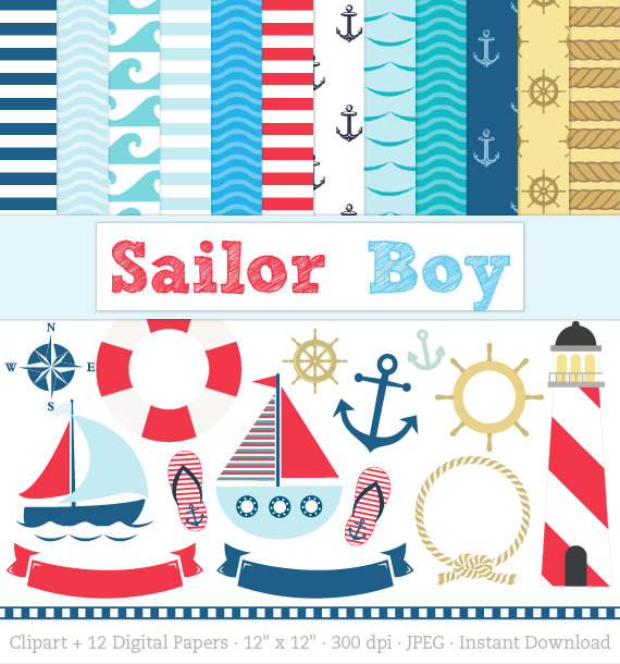 Sailor clipart boat Digital Anchors  Sailor Clipart