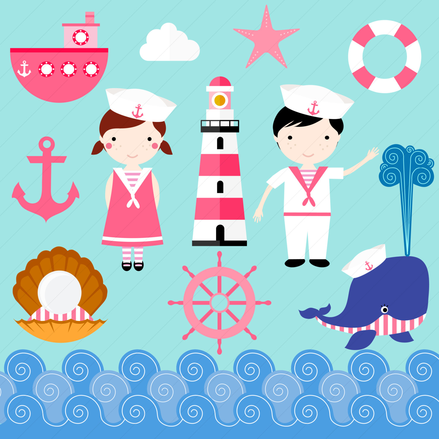 Lighthouse clipart sailor / Nautical digital Sailor Whale