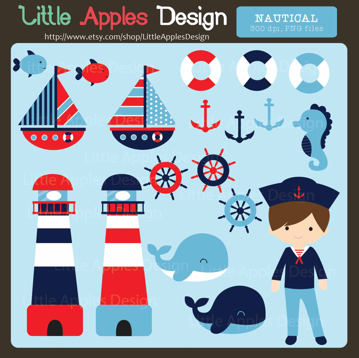 Lighthouse clipart sailor Sailor Commercial Clipart Nautical Personal