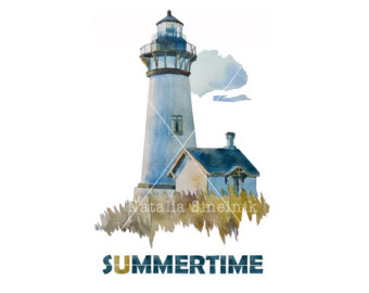 Lighthouse clipart seaside Download lighthouse with Summertime navy