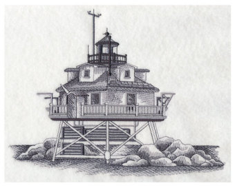 Thomas Point point Lighthouse Embroidered