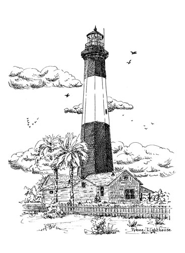 Lighthouse clipart tybee & Ink Prints  Pen