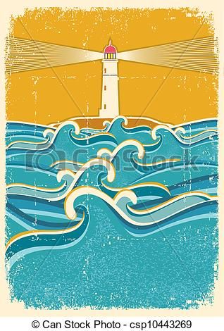 Lighhouse clipart wave drawing #5