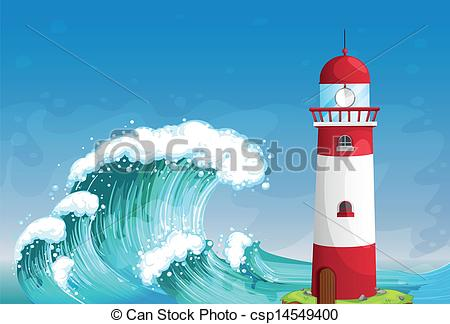 Lighhouse clipart wave drawing #4