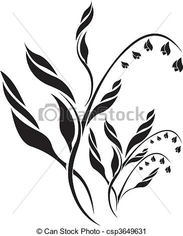 Lily Of The Valley clipart black and white Of floral the of Lily