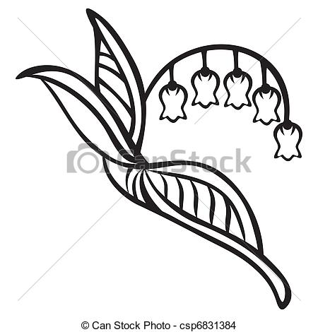Lily Of The Valley clipart black and white Valley Clipart Of Clipart Lily