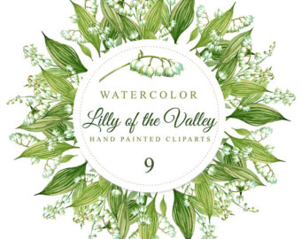 Lily Of The Valley clipart watercolor Hand painted background 4 300