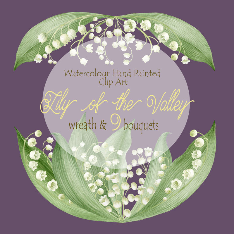 Lily Of The Valley clipart watercolor Painted Digital Wreath the Watercolour