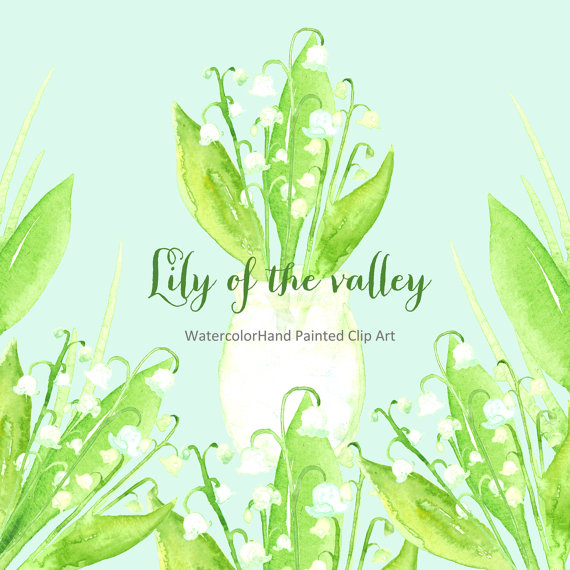 Lily Of The Valley clipart watercolor Art digital of Lily Spring