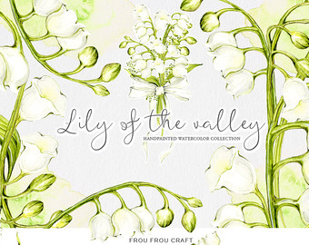 Lily Of The Valley clipart watercolor ClipArt clipart Green Pack Wedding