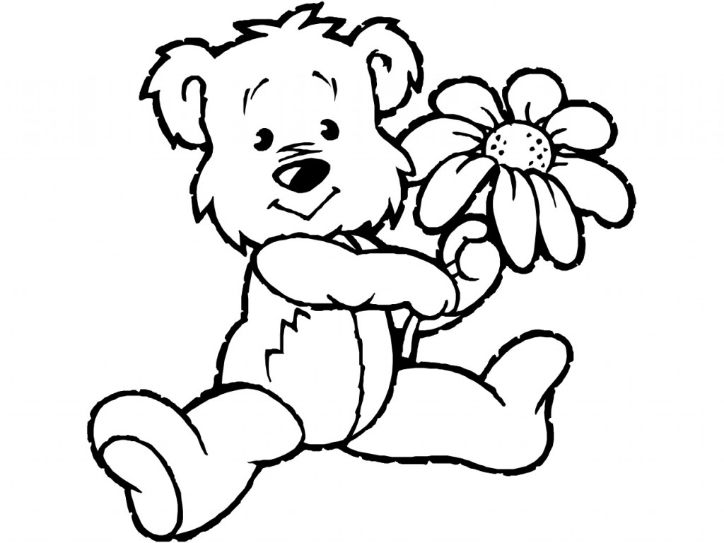 Teddy clipart black and white Collection Free art line Teddy