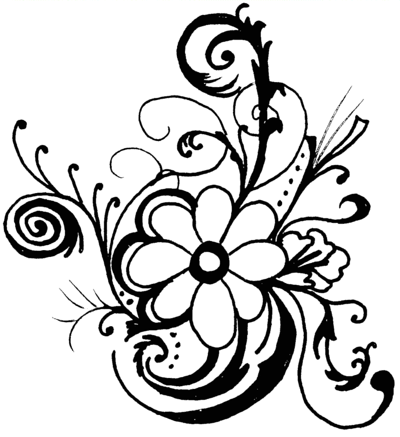 Floral clipart black and white  library Line Art Clip