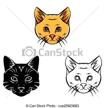 Line Art clipart cat head Book Coloring csp25923883 Vector book