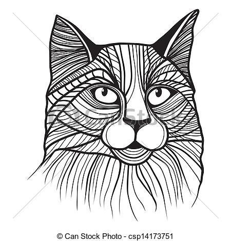 Line Art clipart cat head Vector Vector head Clipart Vector