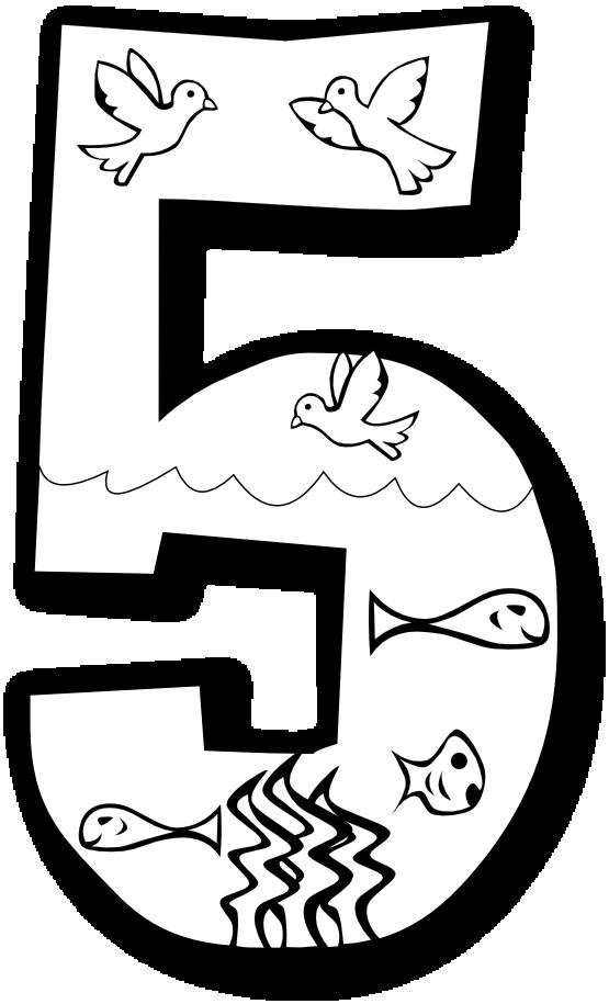Black clipart number 5 Color Black Clipart Rainbow White
