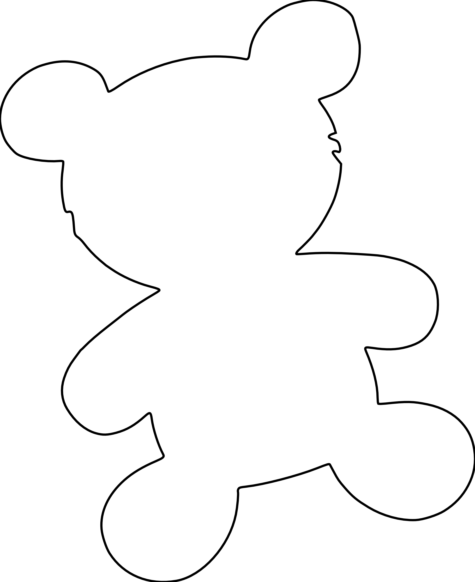 Teddy clipart coloring #1