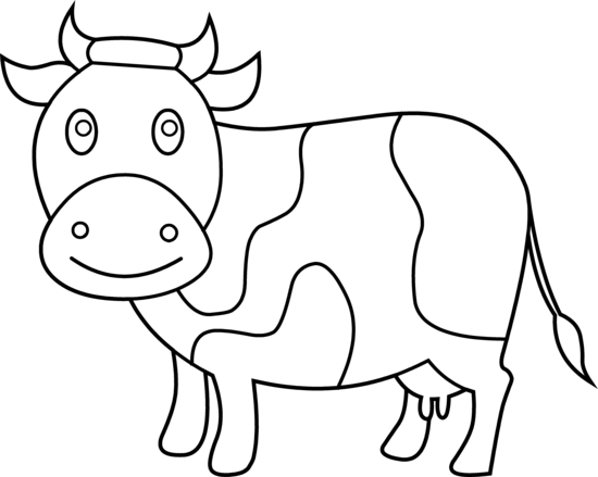 Cattle clipart black and white Art Coloring Cow Page Cute