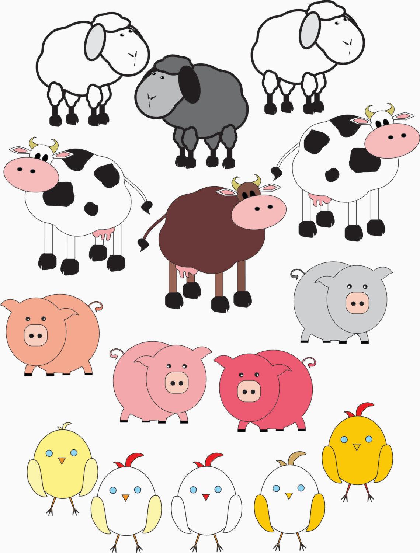 Cattle clipart barnyard animal Collection Art Clipart Farm Vector