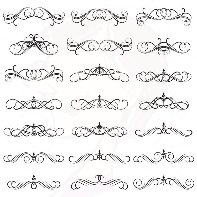 Classical clipart calligraphy  Digital Swirl Wedding Gothic
