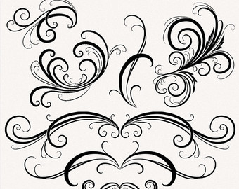 Ornamental clipart graphic design Elements Flourishes Clip swirl and