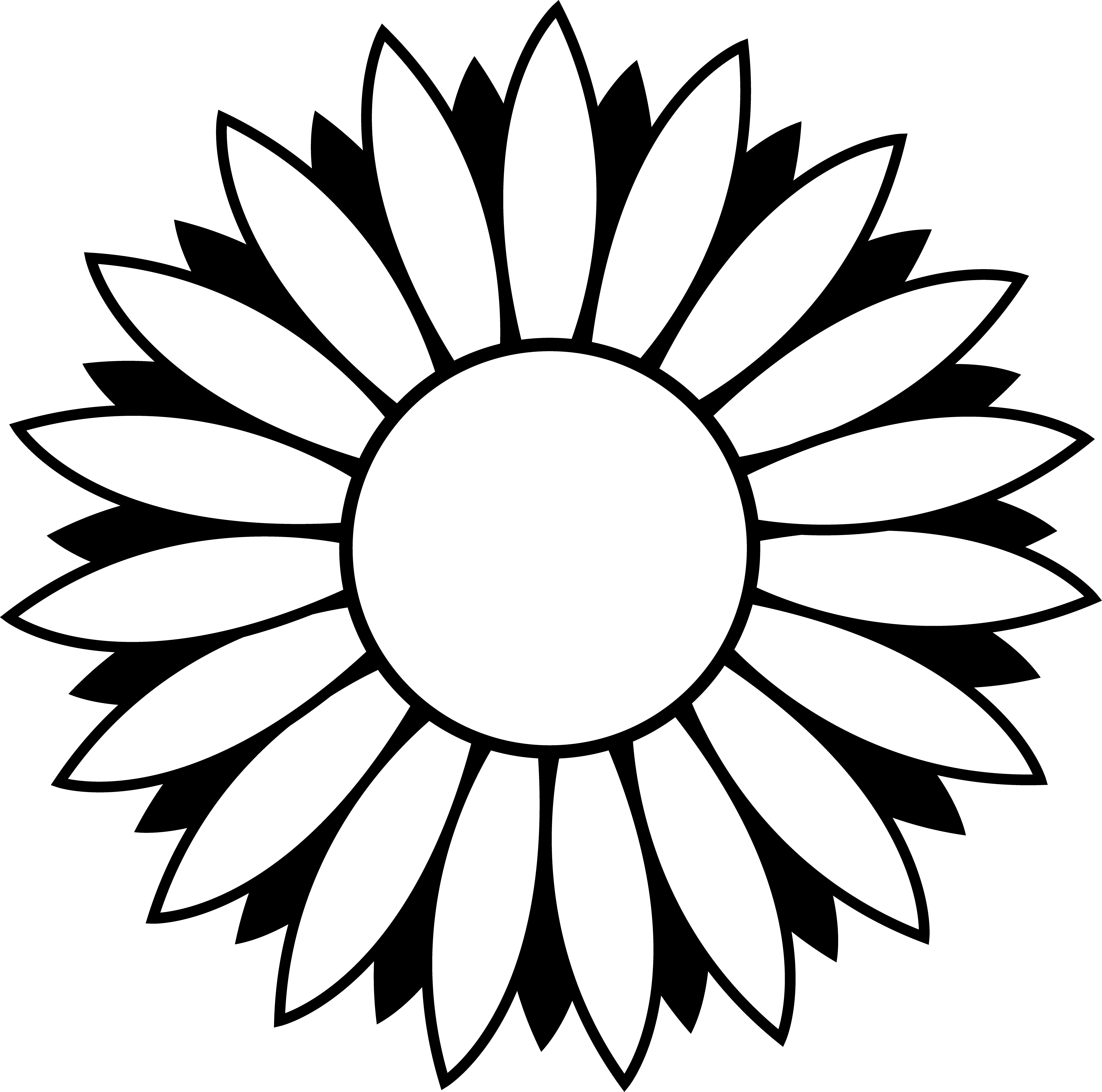 Line clipart vector And Sunflower clipart Black White