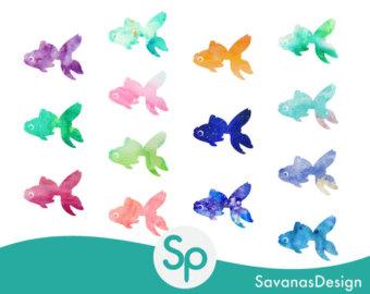 Line Art clipart golden fish Clipart Goldfish Watercolor Goldfish clip