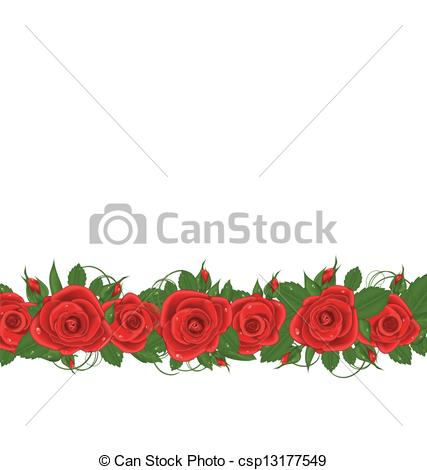 Line Art clipart horizontal border EPS of roses with red