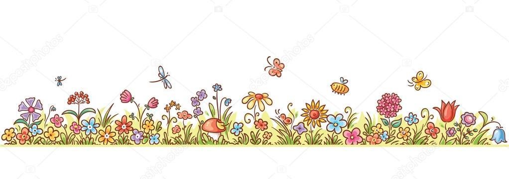 Line Art clipart horizontal border  Flower butterflies Stock cartoon