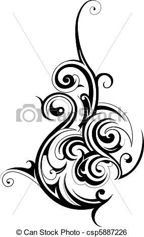 Tribal clipart line art Vector art in tribal shape