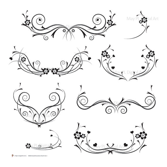 Damask clipart elegant scroll Flourishes Art Swirls Clip Wedding
