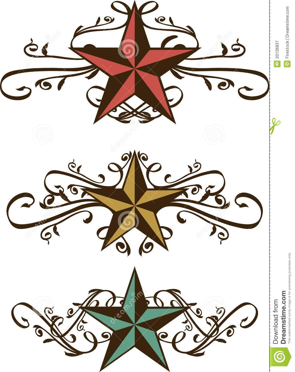 Swirl clipart western With stars  vintage ornate