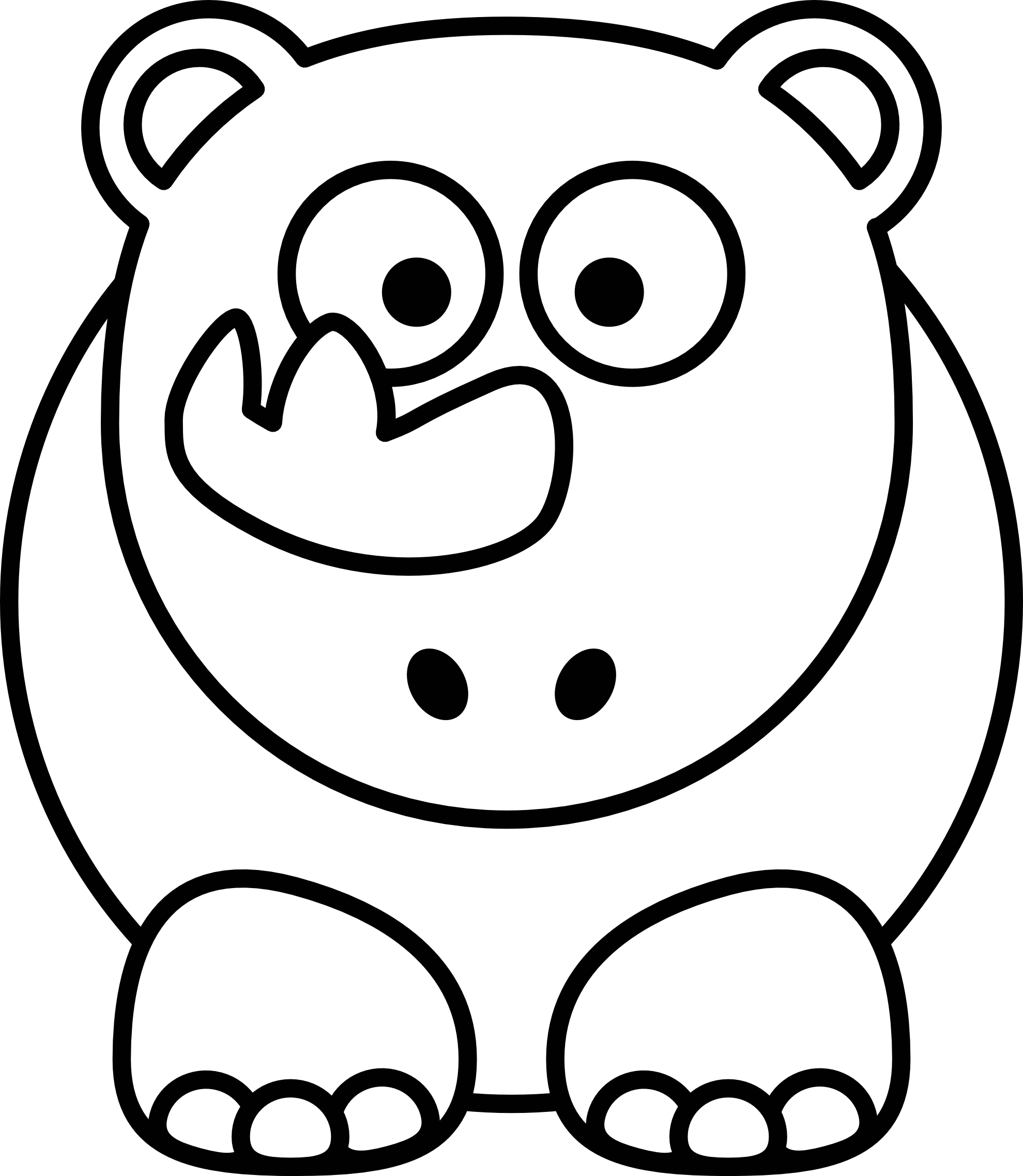 Rhino clipart coloring page #1