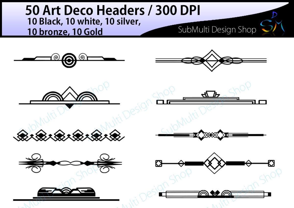 Lines clipart art deco Art / headers / Bundles