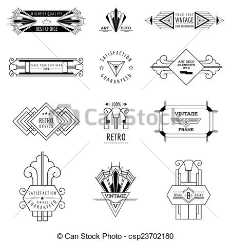 Lines clipart art deco Frames Vintage Design Elements csp23702180