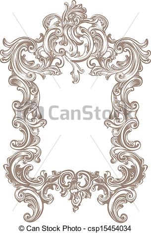 Lines clipart baroque Frame background csp15454034 Baroque white