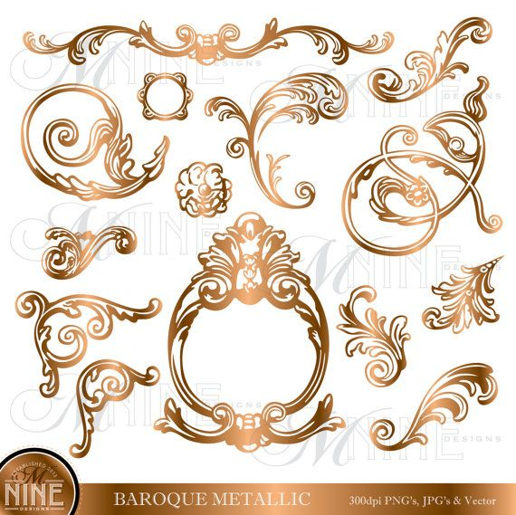 Lines clipart baroque Images about Digital 44 Accents