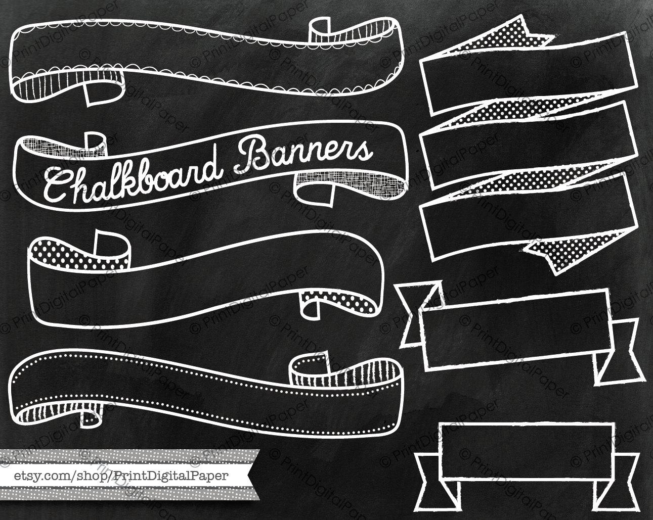 Drawn ribbon chalkboard And Chalk  texture Chalkboard