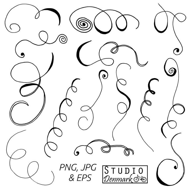 Line clipart doodle Doodle Clipart Scrolls 14 Clipart