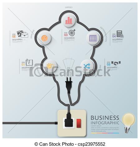 Line clipart electric wire Infographic Line Shape Diagram Bulb