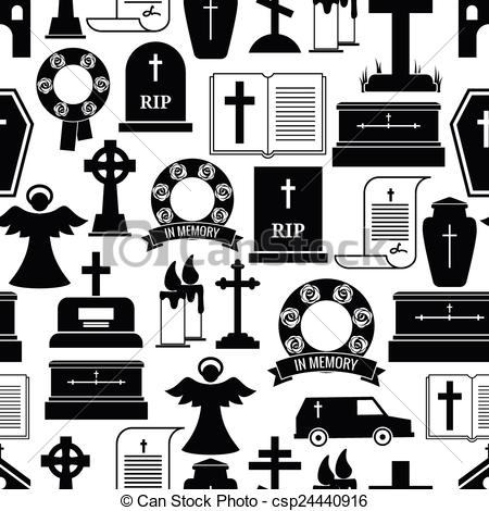 Symbol clipart funeral RIP RIP pattern background Vector