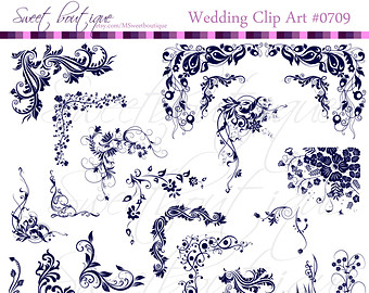 Damask clipart elegant scroll Frames art Corners Clip art