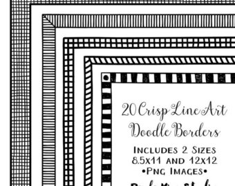 Lines clipart doodle Instant Doodle Instant Clip Frame