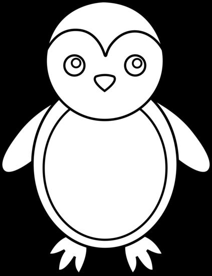 Monochrome clipart penguin Colorable Free Art Line Art