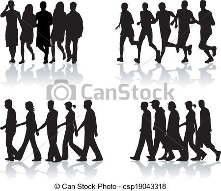 Crowd clipart walking Vector vector of 1 Clip