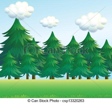 Line clipart pine tree Vector A csp13320263 tree Art