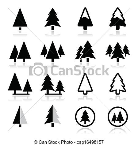 Line clipart pine tree Vector Pine set vector Clipart