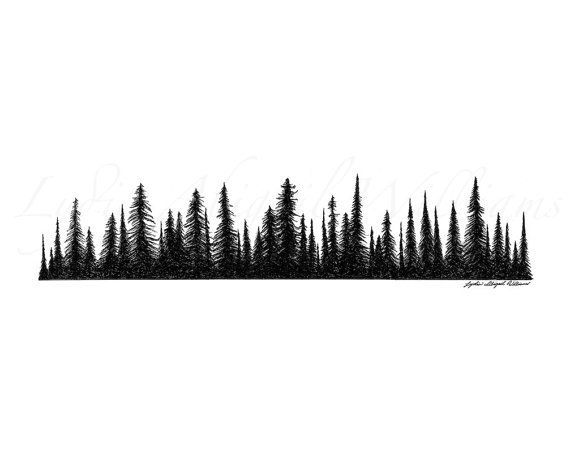 Line clipart pine tree Tattoo Forest sleeve ideas on