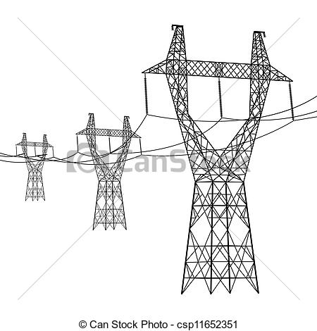 Line clipart power line Of Clipart of voltage Silhouette